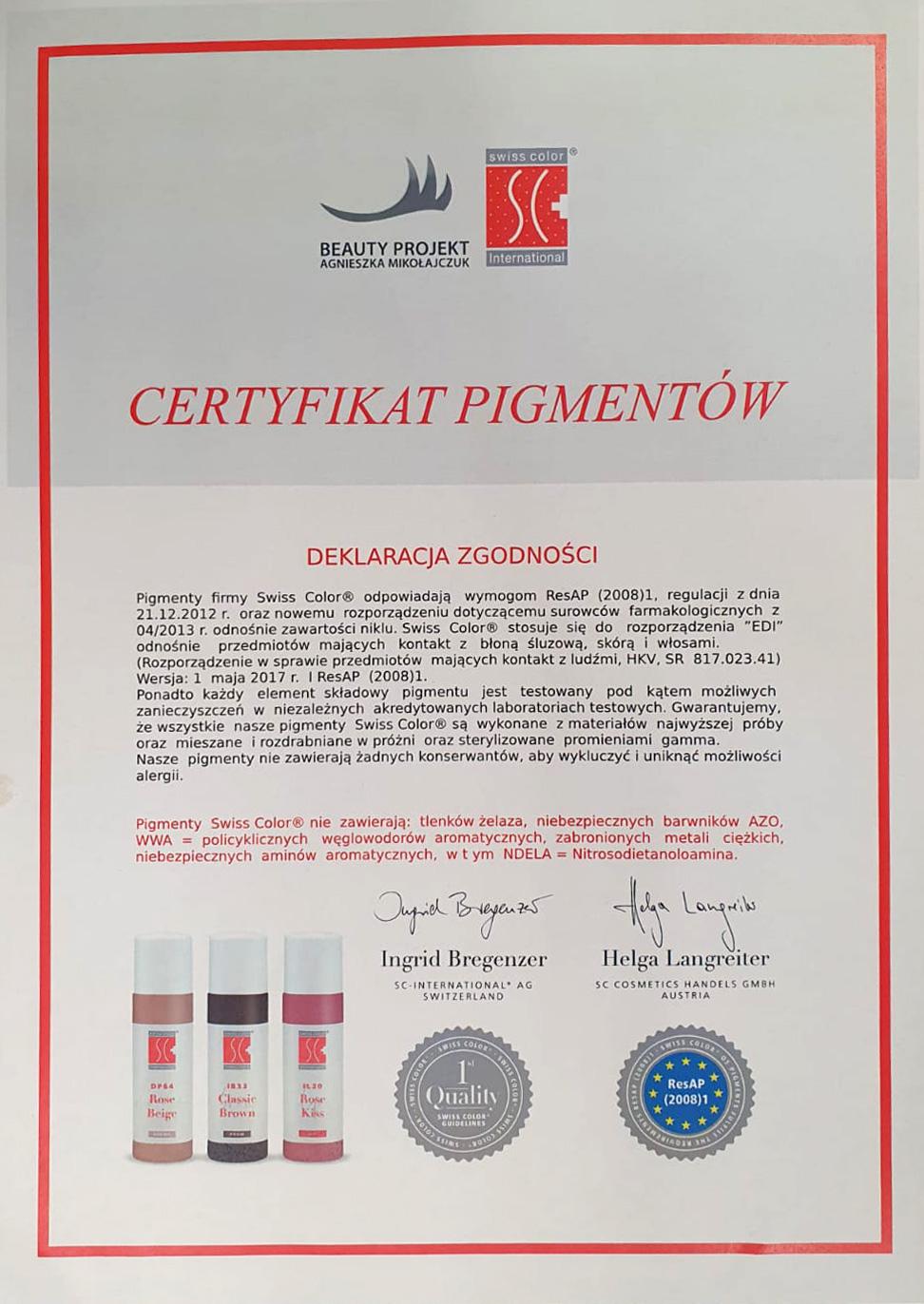 Certyfikat Mikropigmentacja skory glowy Tychy